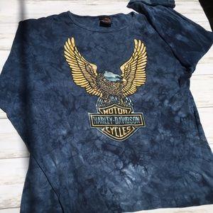 Harley Davidson Blue Acid Dye Graphic Long Sleeve